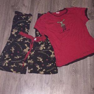 """""""chocolate moose"""" matching kids pajama set"""